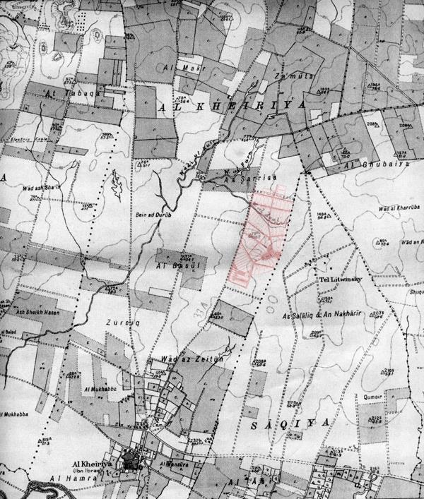 מפת האיזור משנת 1929 מיקום כפר אז